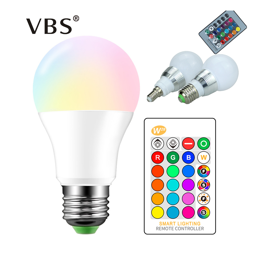 High Power RGB LED Lamp E27 E14 3W 5W RGB 10W 15W RGBW RGBW  Light AC85 265V Lampara 16 Colors Remote Controller bombillas led-in LED Bulbs & Tubes from Lights & Lighting