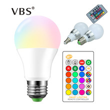 High Power RGB LED Lamp E27 E14 3W 5W RGB 10W 15W RGBW RGBW Light AC85-265V Lampara 16 Colors Remote Controller bombillas led(China)
