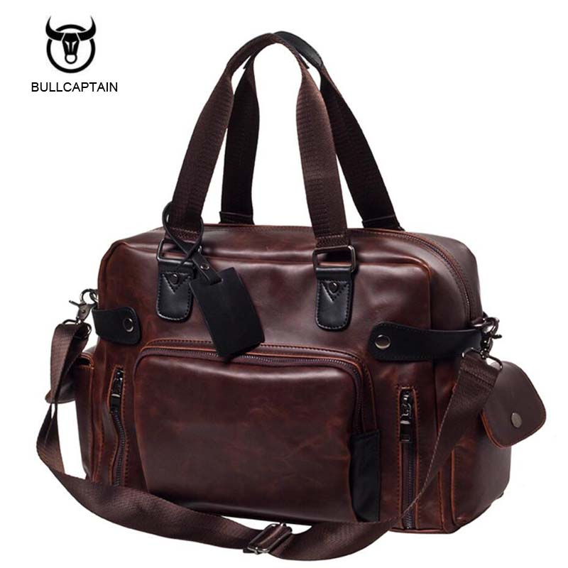 Men Handbags Pu Leather Shoulder Crossbody Bag Vintage Traveling Male Messenger Bags Large Capacity Casual Totes Single