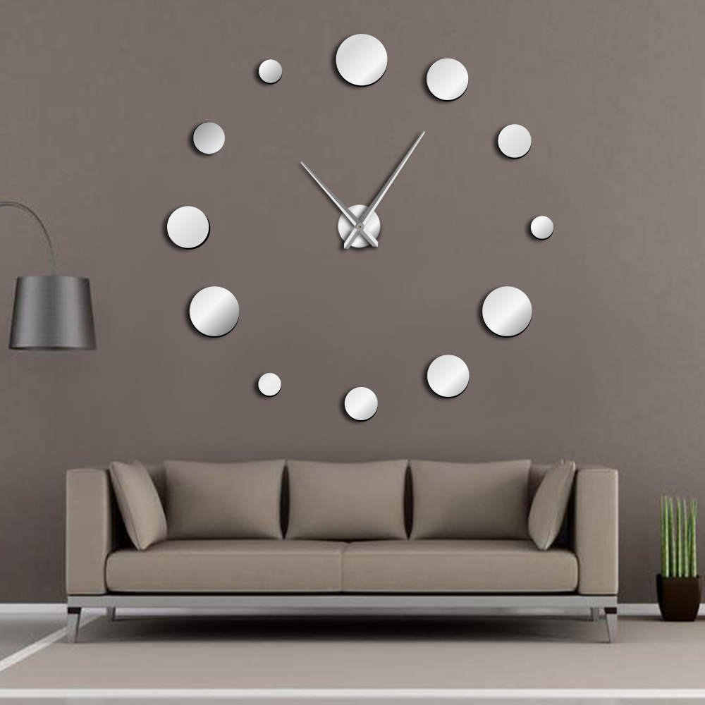 Round Mirror Large Wall Clock Simple Modern Design Frameless Giant