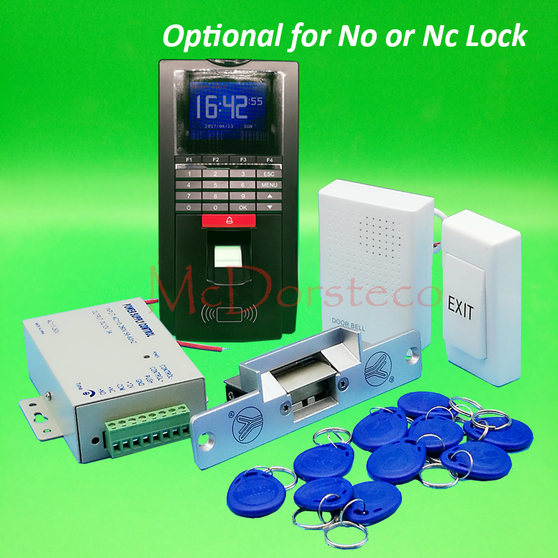 DIY Fingerprint Access Control System Complete No Nc Electric Strike Lock Door Access System Kit + Power Supply + Door Bell