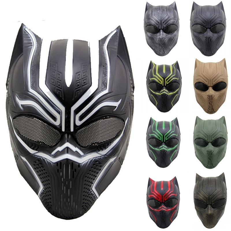 ZJZ07 Black Panther Skull Ghost Tactical Airsoft Paintball Full Face Protective Mask Military Wargame Cosplay Halloween Party
