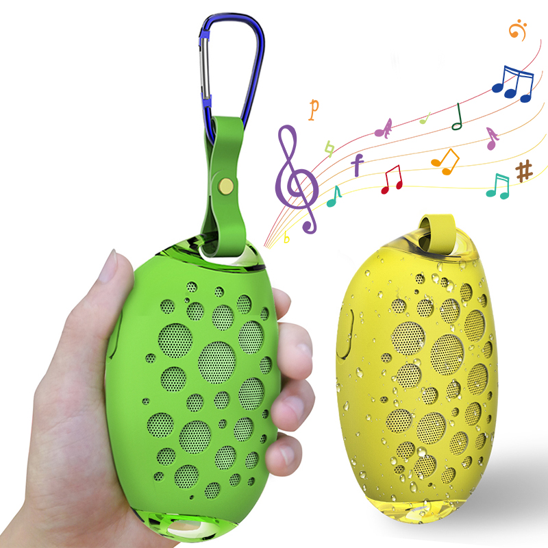mini mango wireless waterproof bluetooth speaker for outdoors with mic hook and handsfree call support