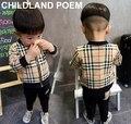 2016 de la moda de primavera a cuadros bebés que arropan la chaqueta + pantalones trajes de bebé recién nacido niño ropa chándales vetement fille