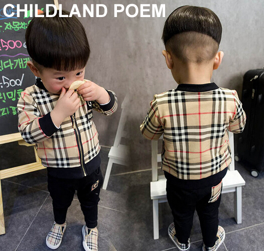 2016 spring fashion plaid baby boys clothing sets jacket + pants suits for infant newborn boy clothes tracksuits vetement fille