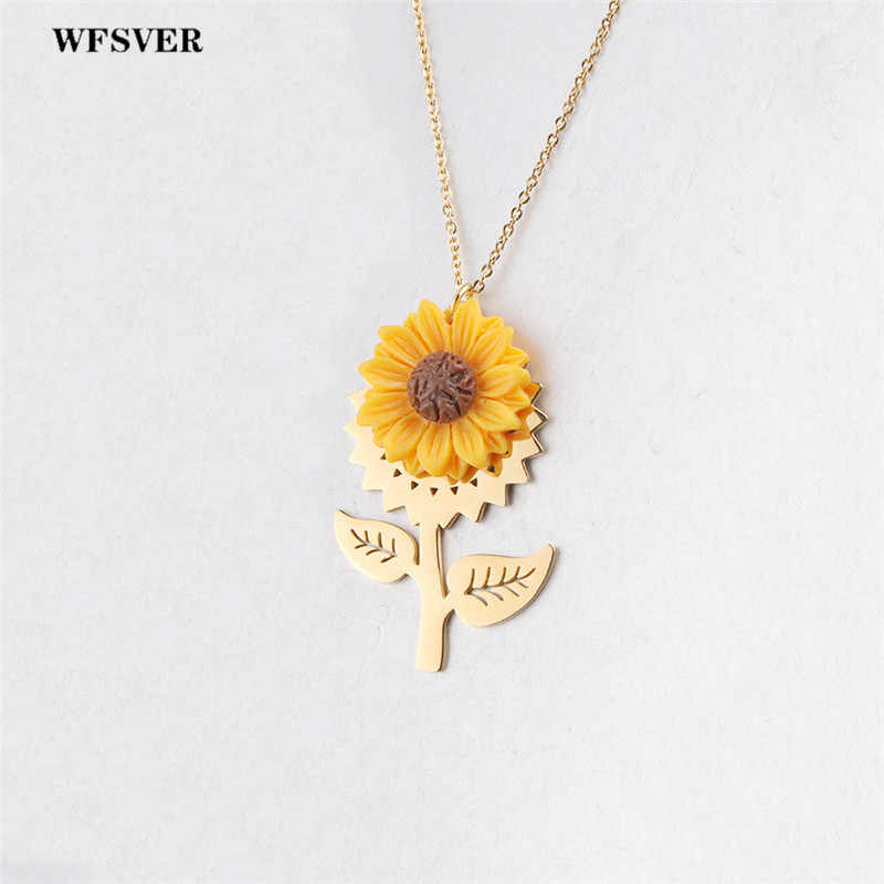 WFSVER new design sunflower flower pendant necklace for women stainless steel link chain necklace female fashion jewelry