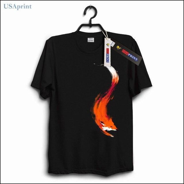 b7176be6 USAprint High Fashion Street Men Fox T Shirts Funny Printed T-shirt Animal  Art Cool