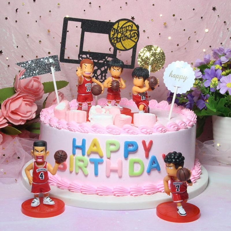Cool 5Pcs Japanese Anime Figure Slam Dunk Cake Topper Sakuragi Funny Birthday Cards Online Unhofree Goldxyz
