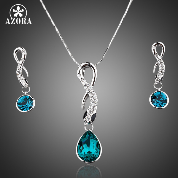AZORA NEW White Gold Color Blue Stellux Austrian Crystal Drop Earrings and Necklace Jewelry Sets TG0015