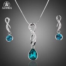 Azora nuevo oro blanco color azul stellux pendientes de gota de cristal austriaco y joyería collar conjuntos tg0015