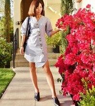 цена на New Spring/Summer 2019 Design Asymmetrical Button Stripe Cotton Shirt Dress V-Neck Knee-Length Striped  A-Line Dress Women
