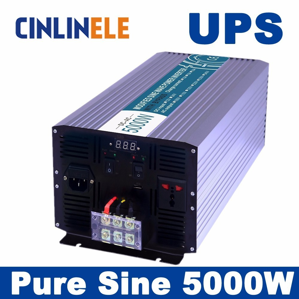 Universal inverter UPS+Charger 5000W Pure Sine Wave Inverter CLP5000A DC 12V 24V 48V to AC 110V 220V 5000W Surge Power 10000W 5000w dc 48v to ac 110v charger modified sine wave iverter ied digitai dispiay ce rohs china 5000 481g c ups