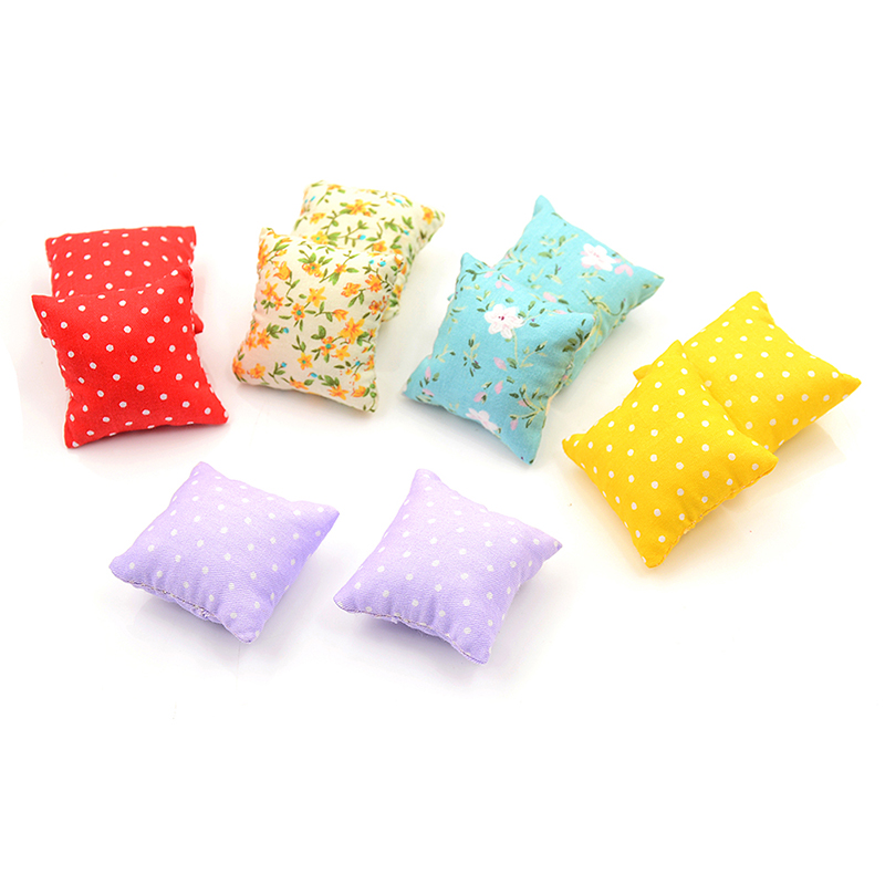 2Pcs Flower Pillow Cushions For Sofa Couch Bed 1/12 Dollhouse Miniature Furniture Toys High Quality