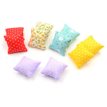 2Pcs Flower Pillow Cushions For Sofa Couch Bed 1/12 Dollhouse Miniature Furniture Toys High Quality(China)
