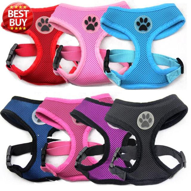 Hot Sale Soft Breathable Mesh Pet Dog Harness Vest with Rubber Paw for Small Medium & Large dog Chest Strap leash set 12 colors
