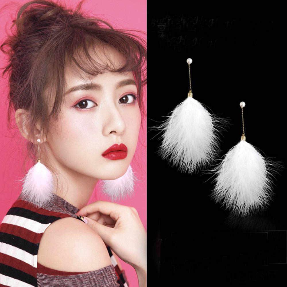 1 paar Japan Koreaanse Mode Zoete Veer Oorbellen Kwastje Chains Gesimuleerde Parels Lange Dangle Earring voor Vrouwen Sieraden