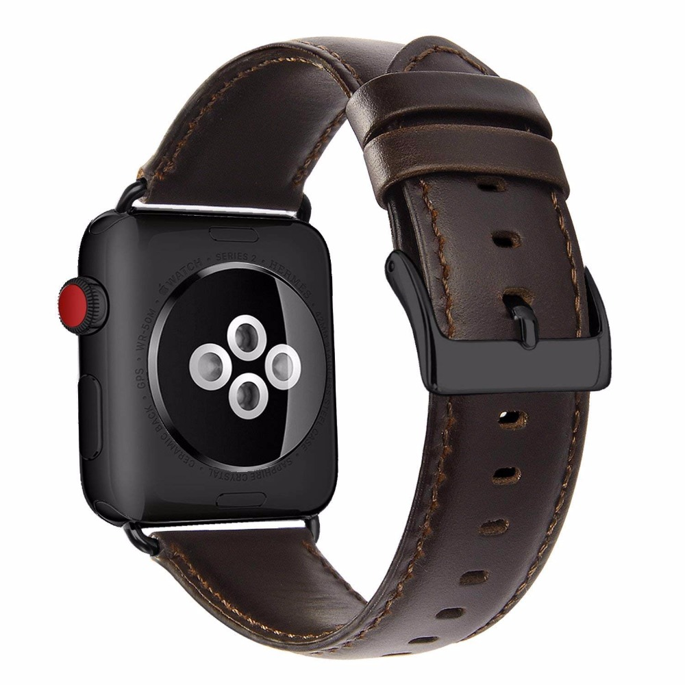 For Apple Watch Band 38mm 42mm Vintage Brown Genuine Leather iWatch Strap Replacement for Apple Watch Series 3 Series 2 Series 1 netcosy gen 1st 38mm 42mm touch screen digitizer panel replacement parts for apple watch series 1 38mm 42mm touchscreen