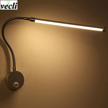 цены LED Wall Lamps With Knob Switch 6W AC90-260V Modern Bedroom Bedside Reading Lamp 360 Degree Angle Adjustable Indoor Lighting