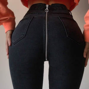 Skinny Jeans Denim Pants Push-Up Zipper Vintage High-Waist Women Femme with In-The-Back