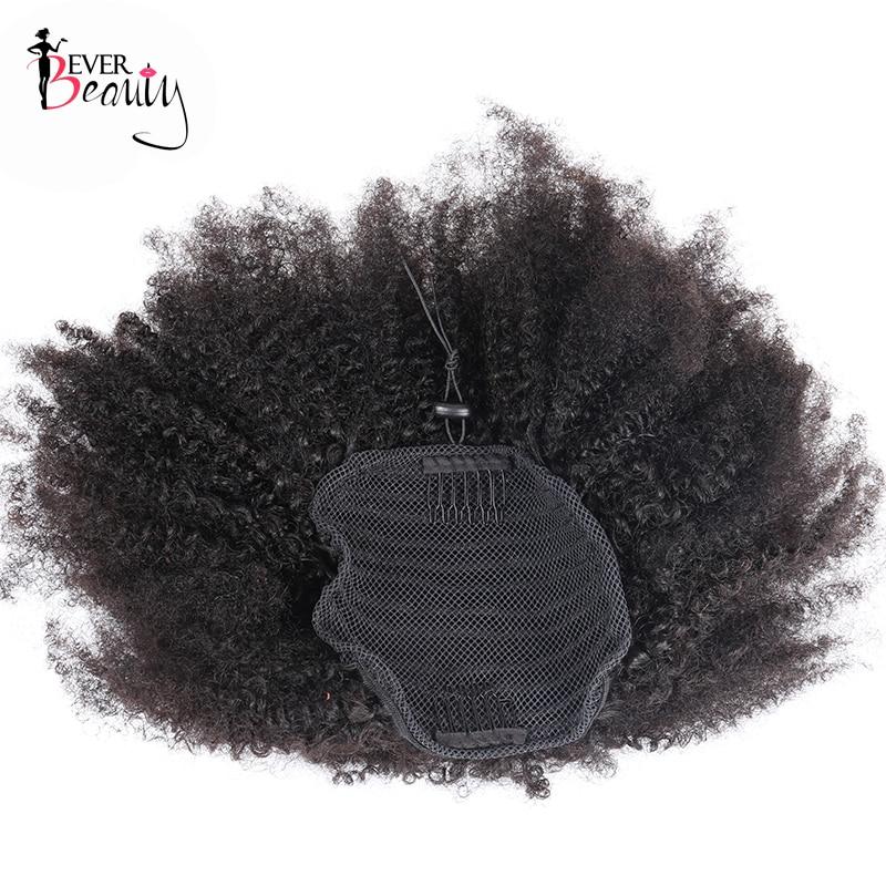 Queue de cheval cheveux humains mongol Afro crépus bouclés queue de cheval Remy 4B 4C Clip dans les Extensions cheveux naturels faisceaux jamais beauté - 3