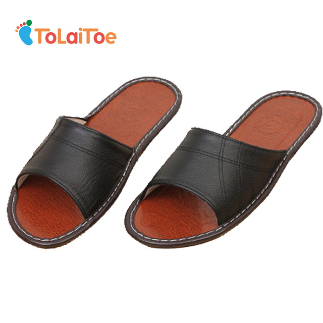 cab403d0bd US $10.19 25% OFF|ToLaiToe Men's Home Spring&Summer Cool Comfortable Black  Genuine Leather Slipper Cow Muscle Sweat Indoor Sewing Slipper Shoes-in ...