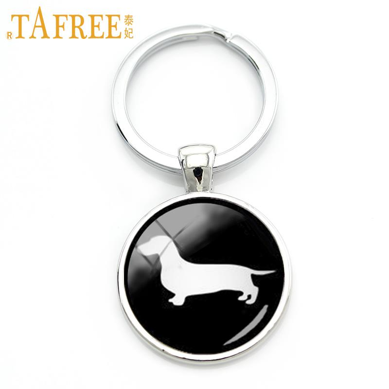 TAFREE Cute Dachshund Key Chain Vintage Minimalist  Hound Silhouette Art Keychain Lovely Dog Profile Picture Jewelry KC354
