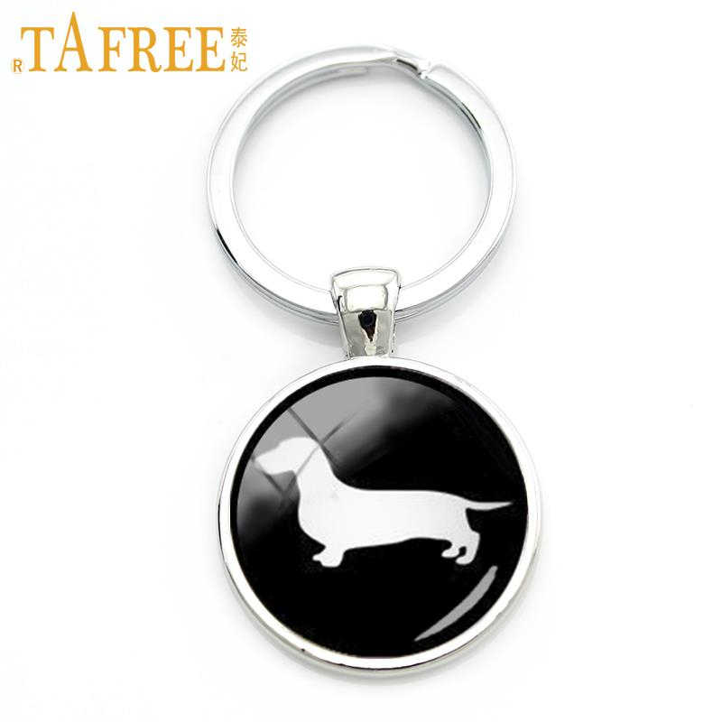 TAFREE Dachshund Bonito corrente chave do vintage minimalista hound silhueta arte chaveiro cão adorável foto do perfil jóias KC354