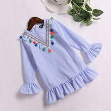 Dress Parent-child Fringed Collar Mommy and me Family Vertical Stripes Children Outfits  Short Sleeve Stripe Clothes