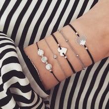 цена Fashion Charm Bohemia Bead Heart Stone Shell Bracelets For Women Bracelet Jewelry Gifts Accessories Women Armband Dropshipping