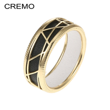 Cremo Geometry Gold Color Ring for Woman Leather DIY Jewelry Original Patent Femme Finger