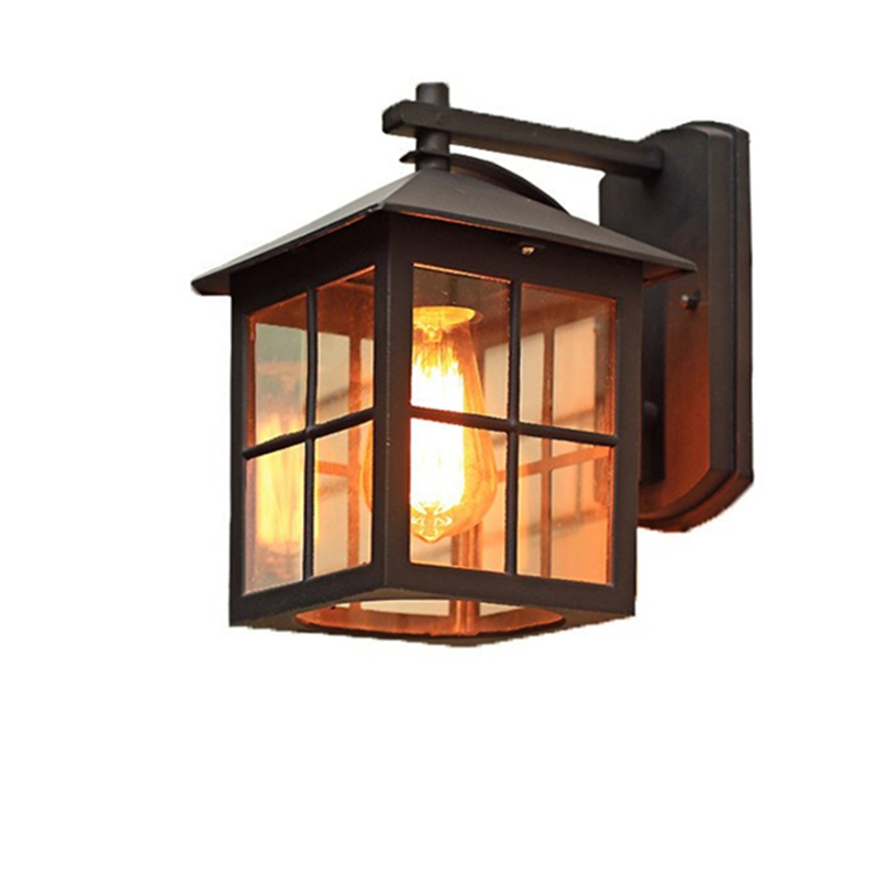 Black Square Iron Glass Shade Wall Lamp AC85 265V E27 Modern Home Lighting Indoor Outdoor Decoration Light Waterproof WLL 349