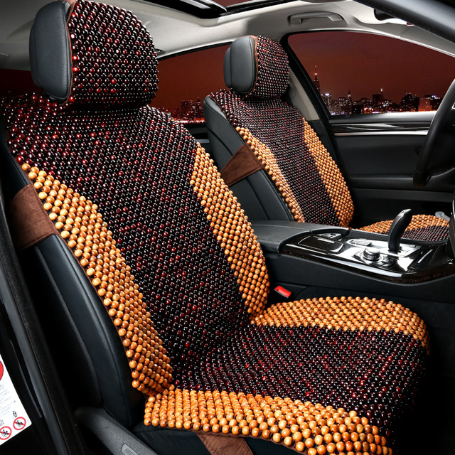 2 Seats Only Wooden Beads Covers For Summer Car Seat Cover Universal Fit Airbag Area Open