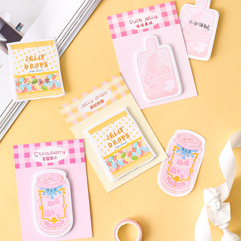 Rainbow Candy Sticky Notes Memo Pad Cute Strawberry Drink Scrapbooking Stickers Material Writing Notepad Stationery Gift