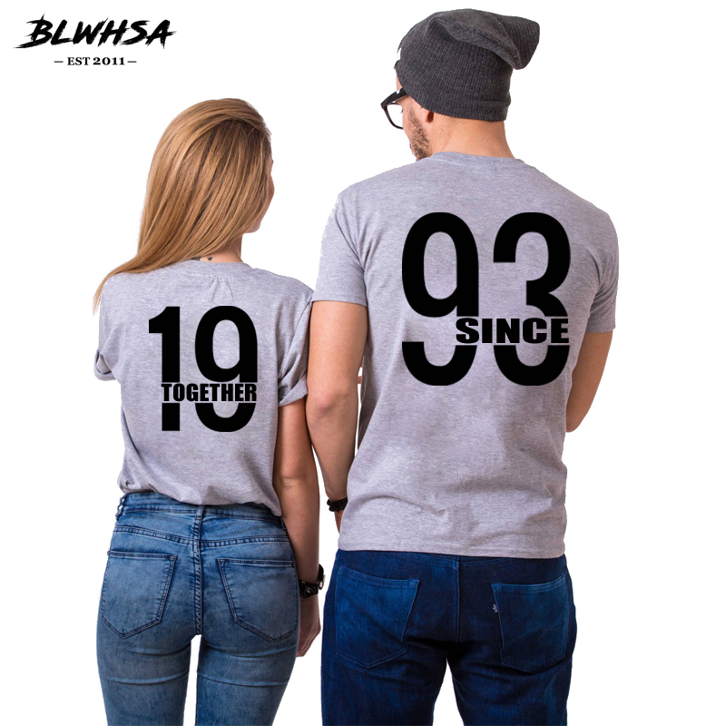 BLWHSA Couple T-shirt Since 1993 Together Printing Gray T Shirt for Men and Women Cotton Round Neck Short Sleeve Casual Top Tees