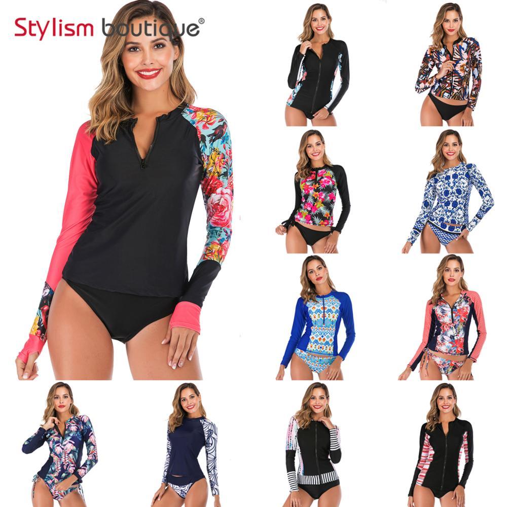 2019 New Rashguard Padded Long Sleeve Swimsuit Surfing Rash Guard Women Two Piece Swimwear Separate Tankini Sport Bathing Suit