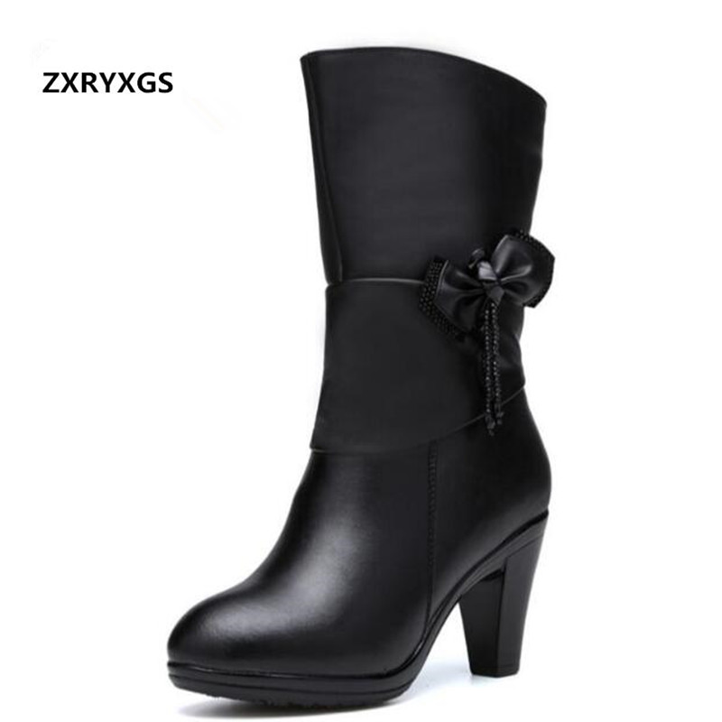 2018 Winter Women Boots Cowhide Rhinestone Bow High Heels Middle Tube Boots Fashion Shoes Boots Inside Velvet or Wool Snow Boots все цены