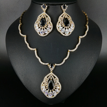 2017 NEW FASHION retro black water drop zircon white/pure gold color necklace earrings wedding bride banquet dinner jewelry set
