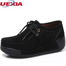 Otoño de Las Mujeres Crecientes Pisos Zapatos de Plataforma Señoras Del Cuero Del Ante Zapatos Casuales Mocasines Slip On Flat Elegante Franja de Enredaderas