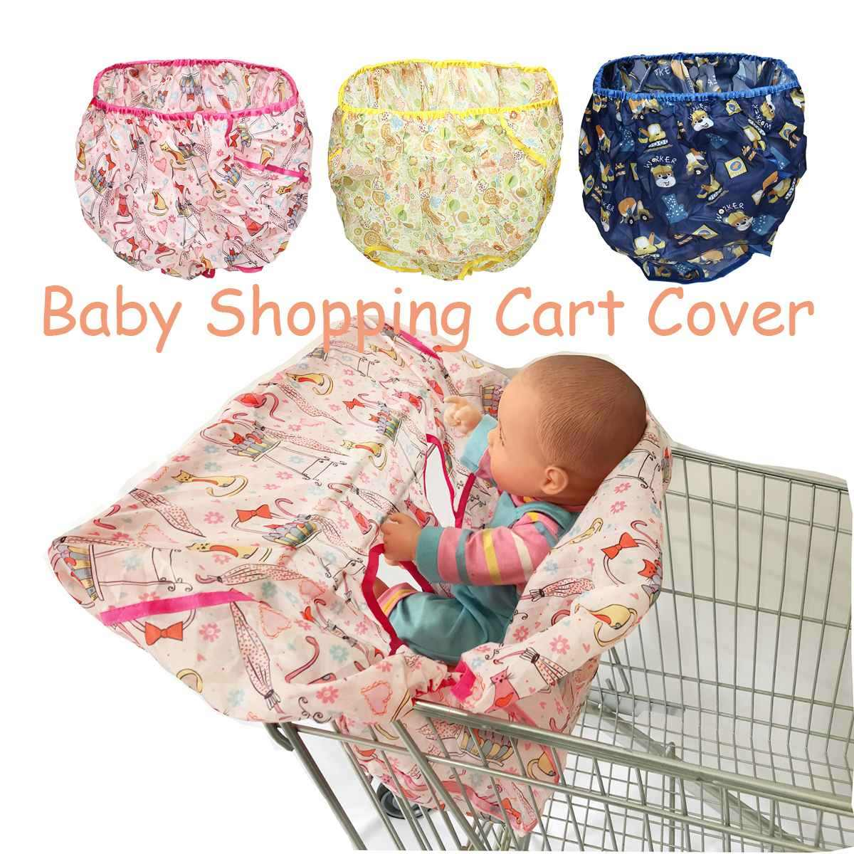 Baby Shopping Cart Cover Breathable Infant Kids Supermarket cart seat Pad Cushion Anti dirty Folding Shopping bag +Storage bag
