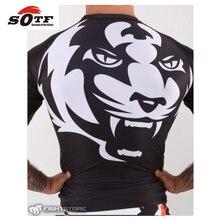 SOTF 2015 new Title Tiger Muay Thai MMA wearing tight fitting short-sleeved suit sweatshirt Shuzhan Tai boxing boxing