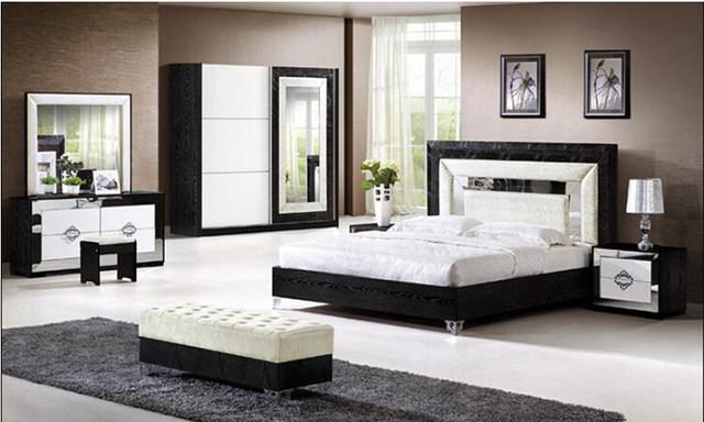 Tienda Online Pakistán MUEBLES CAMA moderna diseño negro con blanco ...