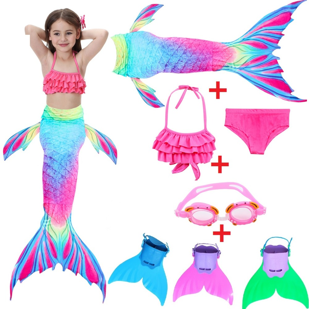 BONJEAN Kids Bikini Girls with Finned Child's Split Swimsuit Mermaid Tail Clothing