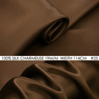 100% Patchwork SILK CHARMEUSE SATIN 114cm width 19 m/m Pure Mulberry Silk Fabric/Long Dress Fabric Suppliers Chocolate NO 25