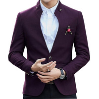 Designer Blazer Casaco Mandarin Blazer Jacket Wine Red Navy Stylish Blazers For Men Tunic Collar Casual Jacket Men Slim Fit CD50