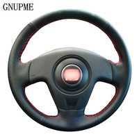 GNUPME DIY Artificial Leather Steering Wheel Cover Hand-Stitched Black Car Steering Wheel Cover for Seat Ibiza 2004 2006