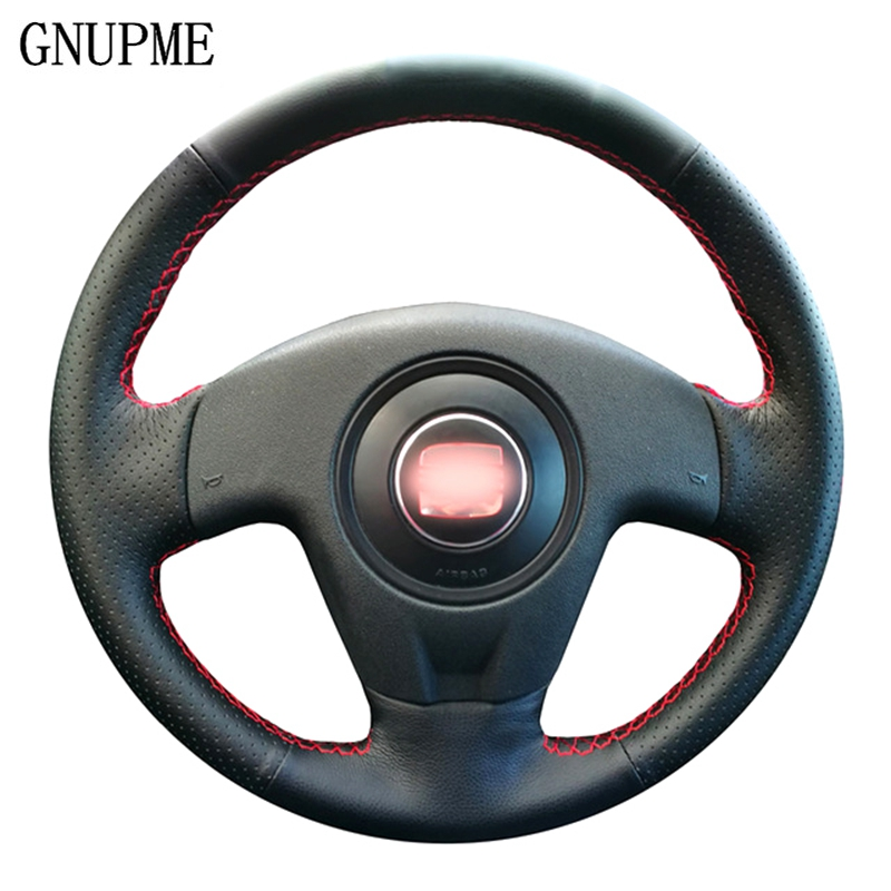 GNUPME DIY Artificial Leather Steering Wheel Cover Hand-Stitched Black Car Steering Wheel Cover for <font><b>Seat</b></font> <font><b>Ibiza</b></font> 2004 <font><b>2006</b></font> image