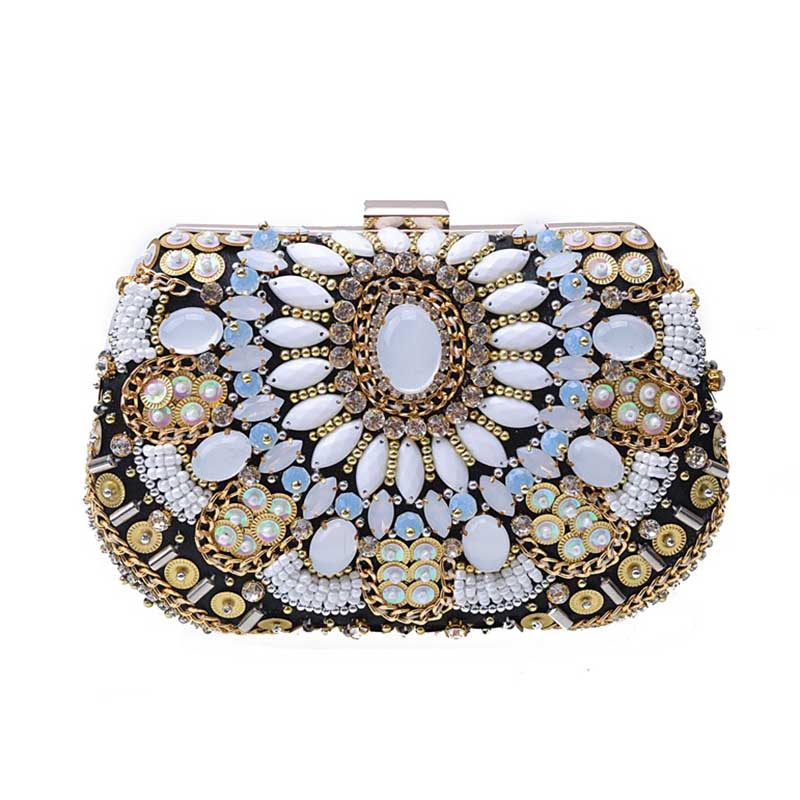 New Luxury Rhinestone Diamond Flower Crystal Evening Bag For Party Handbag Hot Styling Day Clutches Chain Lady Wedding Purse luxurious bling crystal evening bag full diamond flower women day clutches banquet wedding chain shoulder handbag