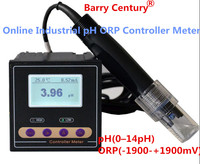 Online Industrial pH ORP Controller Meter Monitor Accuracy 0.02pH 1mV upper lower limit control alarm relay current output data
