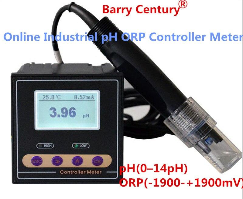 Contrôleur de pH ORP industriel en ligne précision du moniteur 0.02pH 1mV contrôle de limite inférieure supérieure relais d'alarme données de sortie de courant