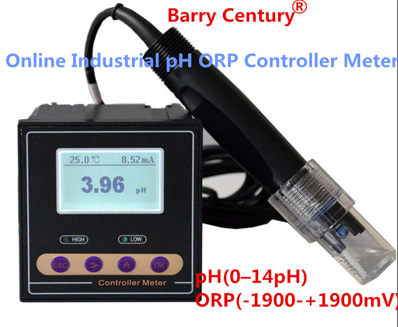 Online Industrial pH ORP Controller Meter Monitor Accuracy 0.02pH 1mV upper lower limit control alarm relay current output data Online Industrial pH ORP Controller Meter Monitor Accuracy 0.02pH 1mV upper lower limit control alarm relay current output data